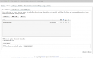 Serviio Einstellungen mit Web UI in PHP