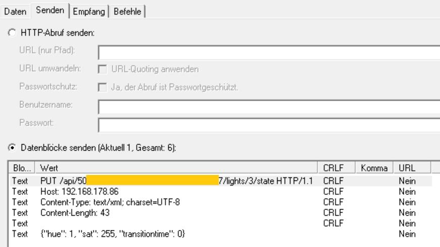 HomeServer Web-Abfrage für Philips Hue (Senden)