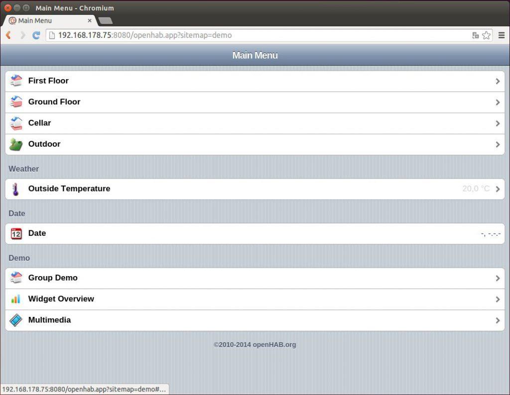 OpenHAB Demo Visualisierung